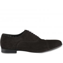 Santoni Chaussures richelieu pour hommes à bout arrondi en velours marron