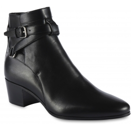 Saint Laurent Bottines pour femmes à bout arrondi en cuir noir avec boucles et talon