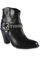 Saint Laurent Bottines pour femmes à bout arrondi en cuir noir avec bride et talon.