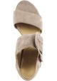 Stuart Weitzman Sandales pour femme à talon carré en cuir suédé taupe avec boucle