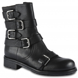 Jimmy Choo Bottines motardes pour femme en cuir noir avec zip latéral