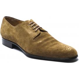 Jean-Baptiste Rautureau Chaussures derbies semi-brogue pour homme en cuir suédé marron