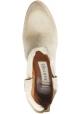 Sartore Bottines texanes pour femme en cuir suédé beige avec clous colorés