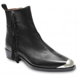 Sartore Bottines pour femmes à franges et bout en métal en cuir noir avec zip latéral