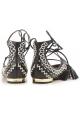 Ballerines à lacets Aquazzura en cuir nappa noir