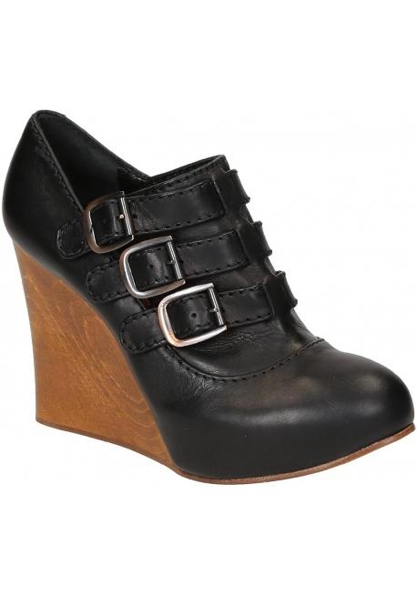Compensées Chloé femme en cuir noir