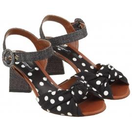 Sandales à talons Dolce&Gabbana en cuir et tissu noir