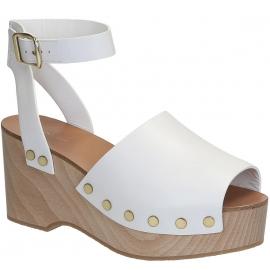 Sandales compensée en bois Céline en Cuir veau blanc
