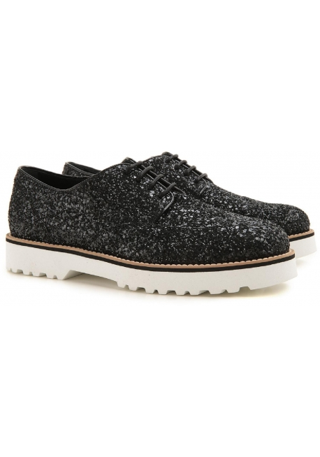 Chaussures à lacets Hogan femme en cuir et paillettes