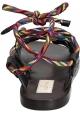 Spartiates Valentino en cuir Anthracite et lacets multicolores