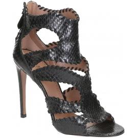 Sandales àtalons hauts Alaïa en peau de piton noir