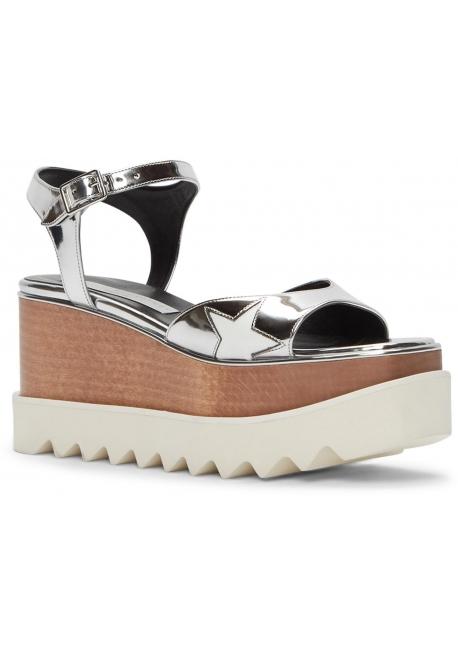 Sandales compensées Stella McCartney en vegan argent