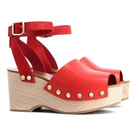 Sandales à plateforme en bois Céline en Cuir veau Rouge écarlate