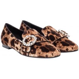 Mocassins Dolce&Gabbana en velours leopard