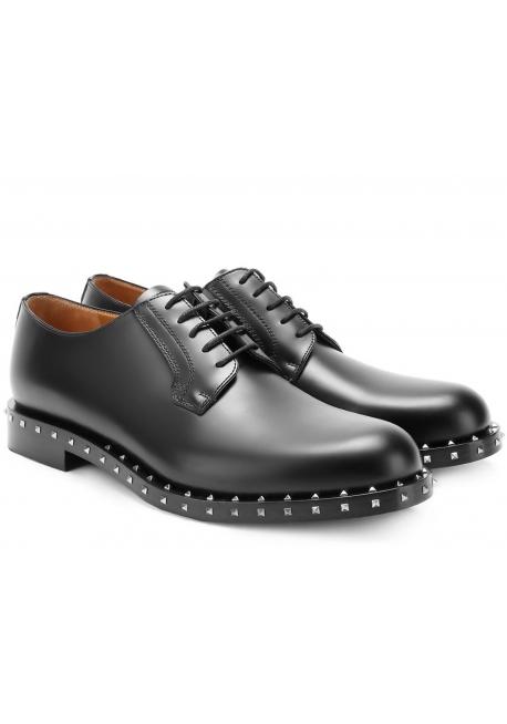 d2a7ef13c77 Chaussures à lacets Valentino homme en cuir noir - Italian Boutique