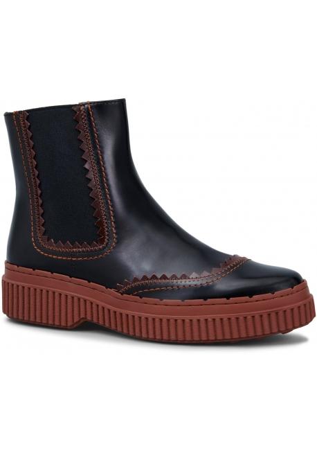 acheter populaire f8c06 2227d Boots chelsea Tod's femme en cuir verni marron