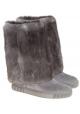 Bottes Casadei en cuir retournée et fourrure gris