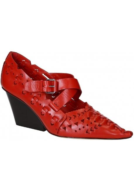 5da3bcbdd63840 Chaussures à talon Céline en cuir veau rouge - Italian Boutique