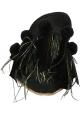 Nu-pieds Gia Couture femme en cuir et tissu noir
