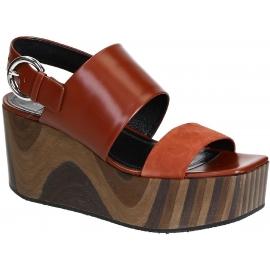Sandales compensée Céline en cuir veau brillant rouille