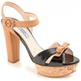 Sandales àplateforme Prada en cuir noir et marron