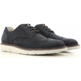 Chaussures bout flori Hogan en cuir retournée bleu foncé