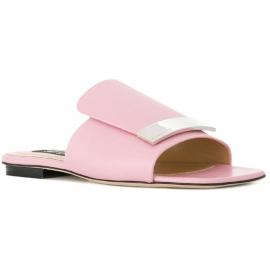 Nu-pieds plates Sergio Rossi en cuir rose pâle