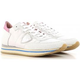 Baskets plates Philippe Model pour femme en cuir blanc