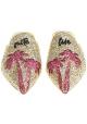Nu-pieds pointu Chiara Ferragni en paillettes or et fushia