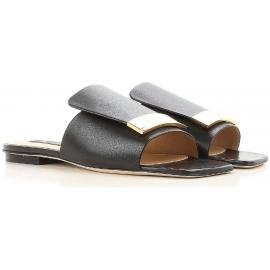 Nu-pieds plates Sergio Rossi Sr1 en cuir noir