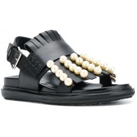 Sandales plates Marni en cuir noir avec franges et perles