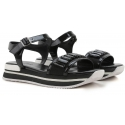 Sandale plates compensées Hogan en cuir vernì noir