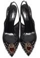 Escarpins àbride arrière Dolce&Gabbana en cuir et tissu noir