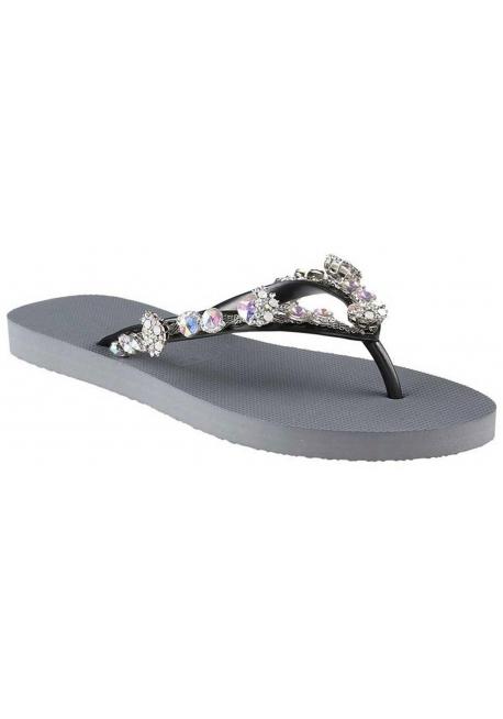 c62ab23ffd92c Nu-pieds tongs Uzurii femme en gomme gris argent - Italian Boutique