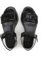 Sandale plates compensées Hogan en cuir verni noir