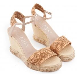 Sandales àtalons compensée Casadei en cuir et paille