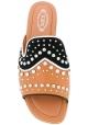 Nu-pieds Tod's pour femme en cuir marron et noir