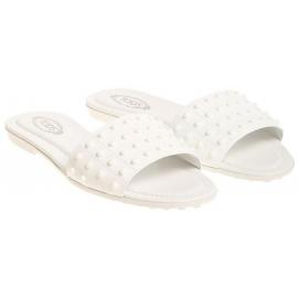 Nu-pieds Tod's pour femme en cuir vernì blanc