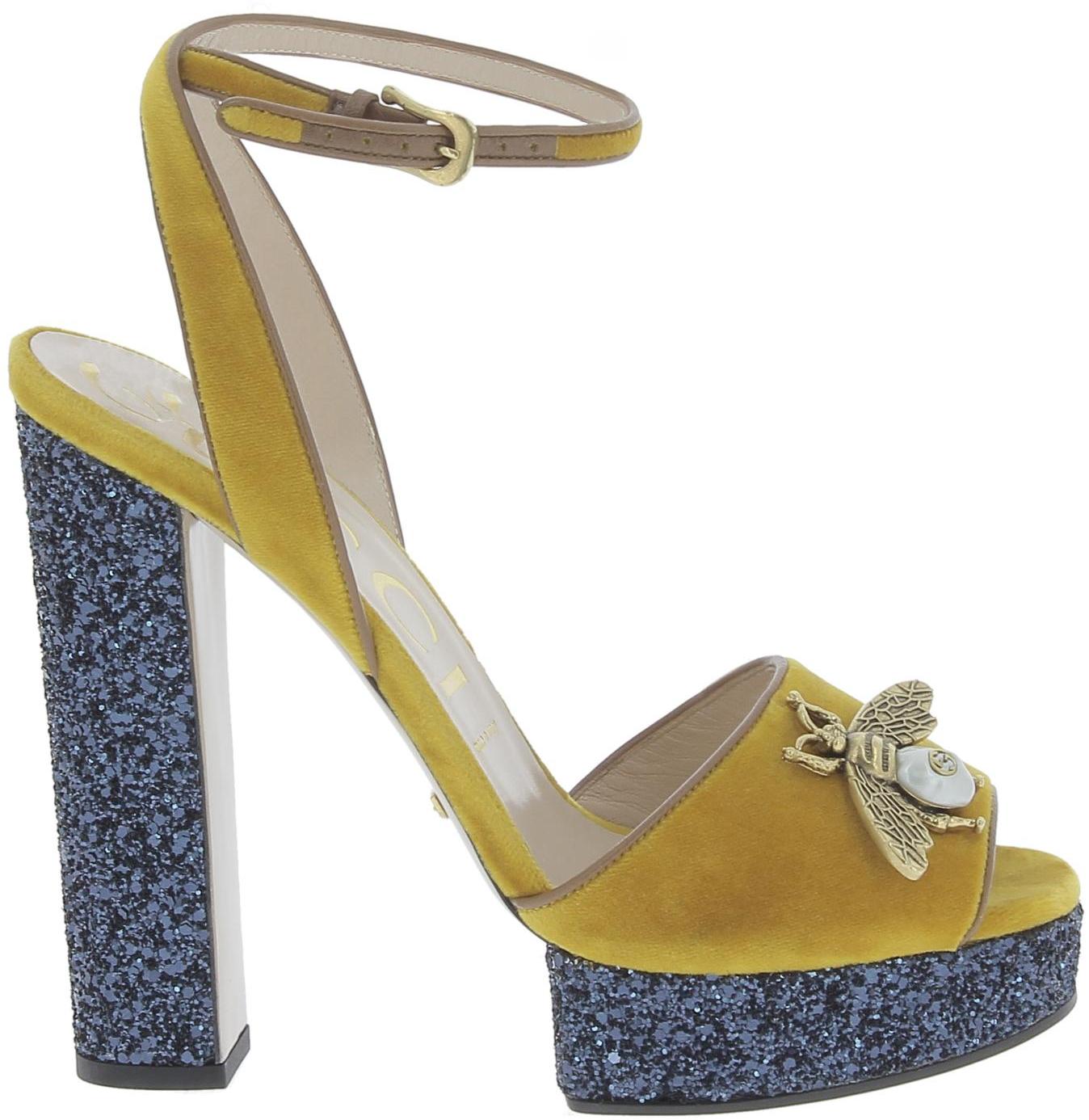 5eb0633c2843 Gucci Sandales femme en Veau Jaune cuir avec bleu plateforme - Italian  Boutique