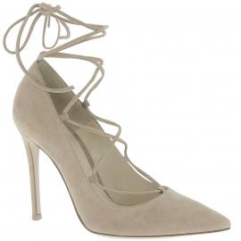Gianvito Rossi Chaussures à talon femme en peau Retournée Noisette avec lacets