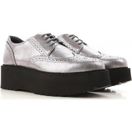 Hogan urban Chaussures àlacets femme en cuir argent avec semelle noire