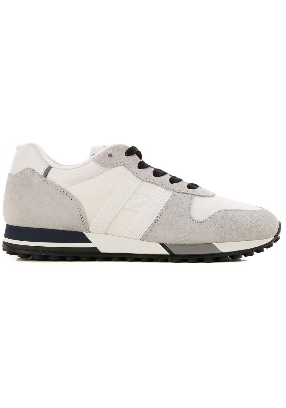 vente chaude en ligne 0eb0d 353d3 Hogan H383 RUNNING Baskets homme en daim gris et tissu blanc ...
