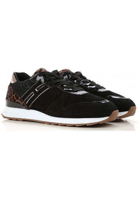 meilleures offres sur plus grand choix de meilleures chaussures Hogan Baskets femme en peau Retournée noir avec effet scintillant