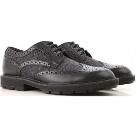 Tod's DERBY BUCATE Chaussures à lacets homme en cuir et tissu noira avec brogue