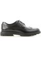 Hogan H393 DERBY Chaussures à lacets pour hommes en cuir noir brillant avec brogue