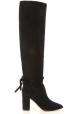 Aquazzura MILANO BOOT 85 Bottes noires genoux pour dames à talons carrés
