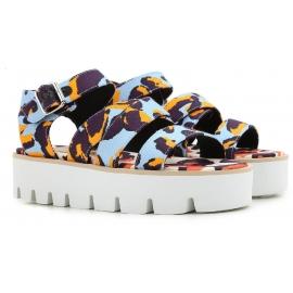 Sandales compensées MSGM en tissu multicolore