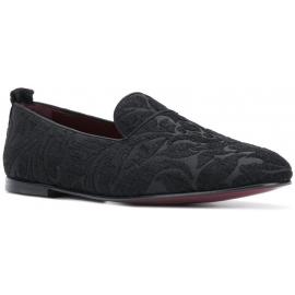 Dolce&Gabbana Mocassins pour homme en velours imprimé noir et semelle en cuir