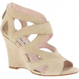 Sandales compensées Miu Miu en daim sable
