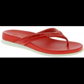 Prada Tongs chaussures pour femme en vernis brillant et cuir rouge vif